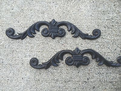 Set of TWO Cast Iron Door Topper Victorian Scroll Vintage BLACK Wall Decor