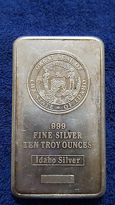 Great Seal Of State Of Idaho 10 Troy Oz .999 Fine Silver Bar !!! Vintage Toned