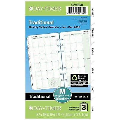 Jan to Dec 2018 Monthly Tabbed Calendar Refill Page for Planner 6 Hole Ring Bind