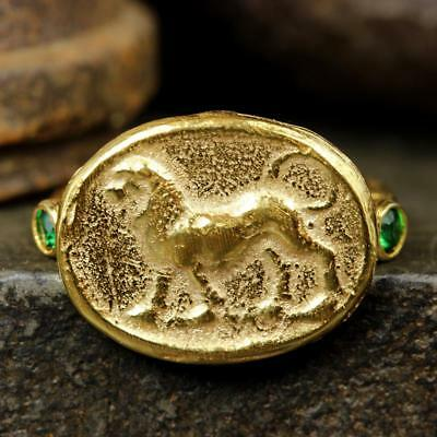 Ancient Roman Art Handcrafted Coin Ring 24K Gold Vermeil over Sterling Silver