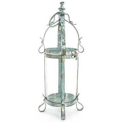 *New* Antique Style Blue Metal & Glass Lantern Shabby Chic Rustic Decor!