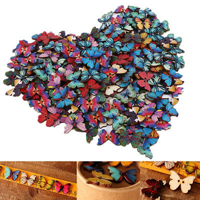 Big Retro Butterfly Wood Wooden Sewing Button Craft Scrapbooking 50Pcs/set