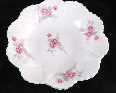 Shelley Fine Bone China in Bridal Rose Spray Dainty Green Trim Nut Dish - RARE!