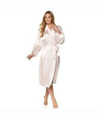 Concierge Collection Platinum Pink 100% Silk Robe M/L NWT