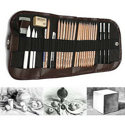 30Pcs Sketch Charcoal Pencil Eraser Set with Carry Pouch For Drawing Sketching
