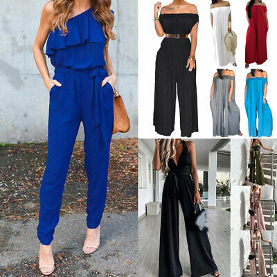 Womens Slim Fit Jumpsuit Off The Shoulder Leggings Long Sleeve Pencil Pants Suit