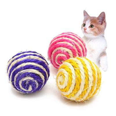 Cat Pet Sisal Rope Woven Ball Teaser Play Chewing Rattle Scratch Catch ToysDE