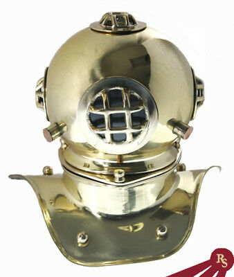 "8"" DIVER HELMET DISPLAY - Bright Brass - NAVY MARK V"