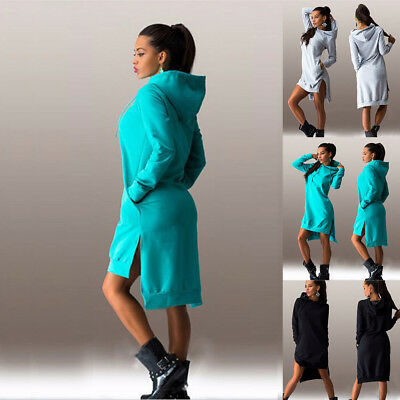 Women Sweatshirt Hoodies Dress Long Sleeve Pullover Jumper Sweater Tops UK 6-18
