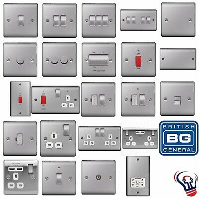 Bg Nexus Metal Brushed Steel Decorative Light Switches & Sockets - White Inserts