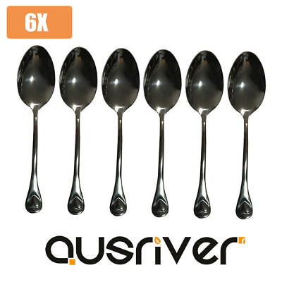 Clearance 6 x New Quality Stainless Steel Soup Tea Spoon Polished Finish Cutlery