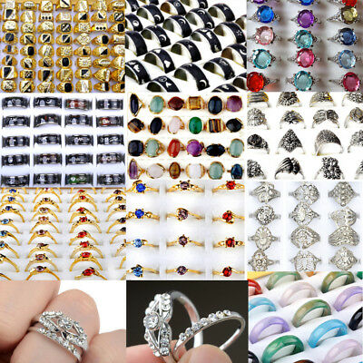 10/20X Ring Lots Wholesale Jewelery Bulks Mixed Silver Gold Plated Crystal Rings