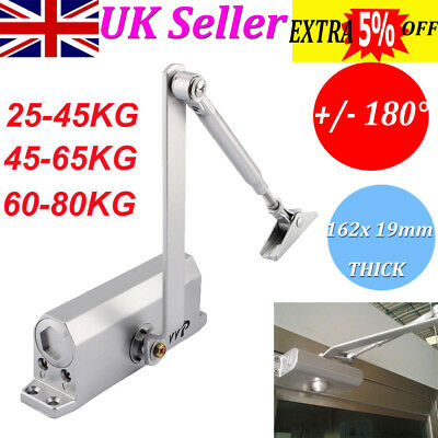 25~80KG Heavy Duty Metal Fire Rated Door Closer Automatic Overhead Size 3 Silver