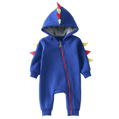 Newborn Baby Boy Girl Long Sleeve Hooded Romper Kids Coat Party Outfits TR