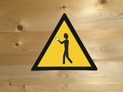 Walking With Phone Funny Warning Vintage Retro ENAMEL METAL TIN SIGN WALL PLAQUE