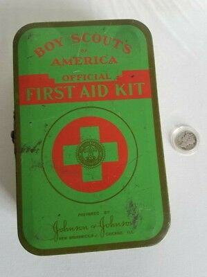 Vtg BSA Boy Scouts of America First Aid Kit Tin w/Contents 1950s