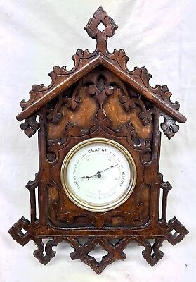 Large Antique Carved Gothic Black Forest Fruit Wood Barometer : CHINA DIAL