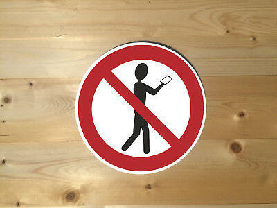 No Walking With Phone Circle Vintage Retro ENAMEL METAL TIN SIGN WALL PLAQUE