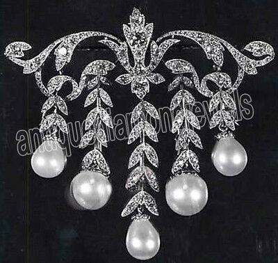 3.40ct ROSE CUT DIAMOND PEARL .925 STERLING SILVER VICTORIAN LOOK BROOCH