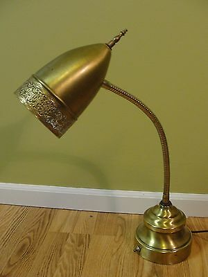 Vintage Mid Century Modern Brass  Desk Table Lamp Gooseneck Ornate Flex Arm