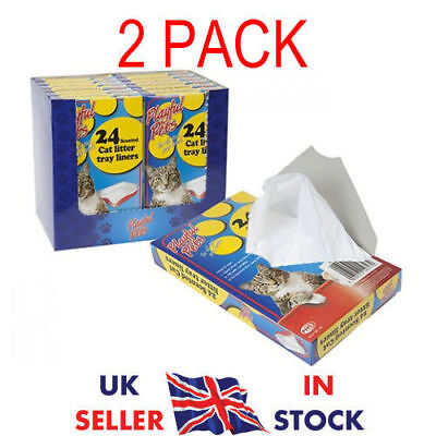 48 Quality Scented Fragranced Cat Litter Tray Liners Disposable Bags Sheets UK