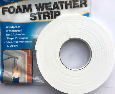 Draught Excluder Foam Strip Draft Window Insulator Self Adhesive Sticky Back