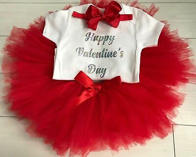 Baby Girls Happy Valentine's Day Outfit Tutu Skirt Red & Bow Headband Dress