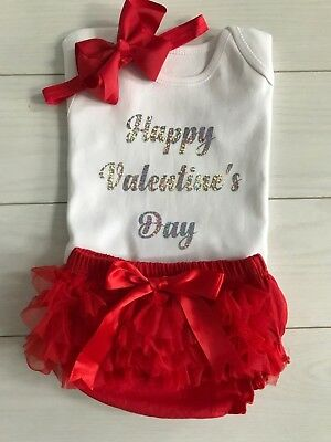 Baby Girls Happy Valentine's Day Outfit Frilly Tutu Knickers Red & Bow Photo