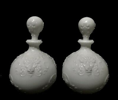 Pair of Antique Victorian Milk Glass Ornate Lion Decanters