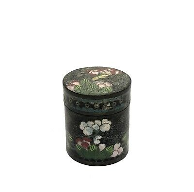 Antique 19th Century Chinese Cloisonné Enamel Opium Trinket Pill Box SEAL SIGNED