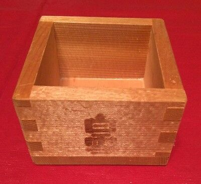 """Sake Cup Solid Wood Vintage Japanese (approx) 3"""" Square x 2"""" Tall Made in Japan"""