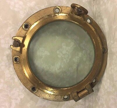 Vtg Brass Ship's Porthole w/ Glass #2 of 2 Two Dog Ears WWII Era?