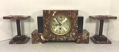 Vintage German Art Deco Clock Set Time Only Runs Marble Case & Garnitures