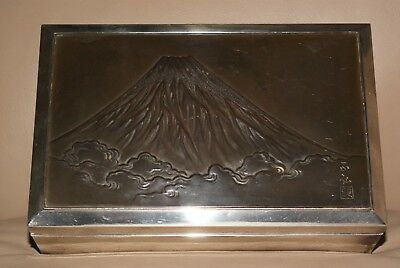Antique Japanese Pure Silver and Mixed Metals Box,View of Mount Fuji