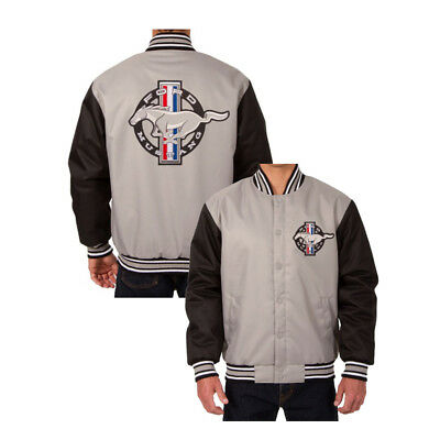 Mustang Jacket Poly-Twill Gray/Black Large | CJ Pony Parts