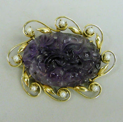 Antique Chinese Carved Amethyst & Seed Pearl Silver Gilt Brooch C.1900- 12.3G