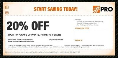 Home Depot 20% Off Coupon Paint Primer Stain In Store Only FAST Expire 2 Weeks
