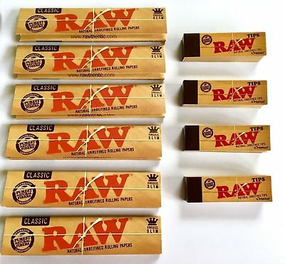 Raw Rizla Classic King Size Slim Rolling Paper With Roach Filter Tips Uk Orginal