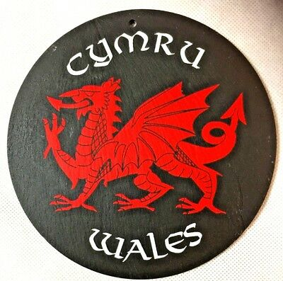 Hand crafted engraved ancient and aged Slate, Colored Cymru, Wales UK.