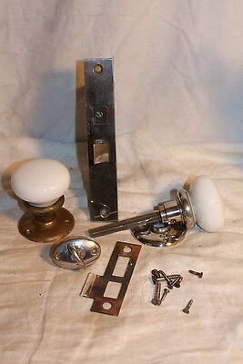 Antique Lockwood Bathroom Nickel & Brass Plate Door Lock Set Milk Glass Knobs