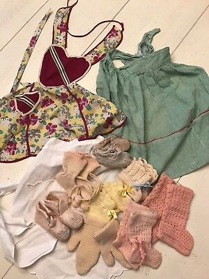 Vintage Lot of 11 Children's Aprons and Baby Booties Booty Shoes Kids 1940s-50s
