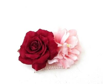 Burgundy Red Blush Pink Rose Peony Flower Hair Comb Bridesmaid Fascinator 4996