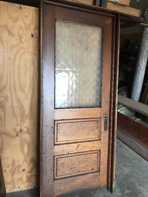 An Two Panel Textured Glass Passage Door With Jamb 34 X 81.5 Antique
