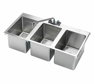 """Stainless Steel 3 Compartment Drop-In Sink 37"""" x 19"""" NSF Certified"""