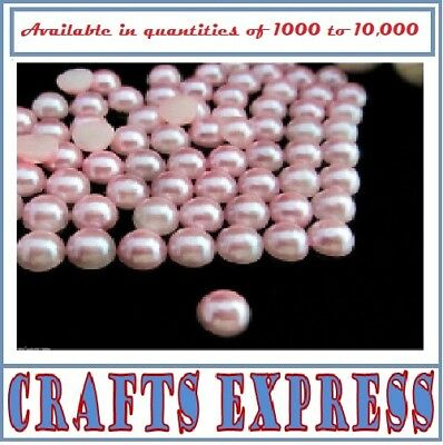 PINK - 2mm HALF ROUND RESIN *PEARL BEADS* FOR NAIL ART / CRAFTS