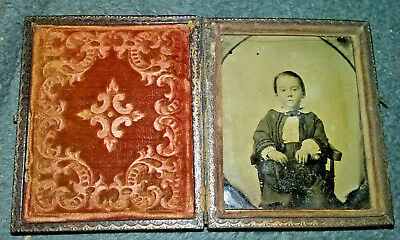 Antique Tintype Photograph of Young Boy in Original Case NR