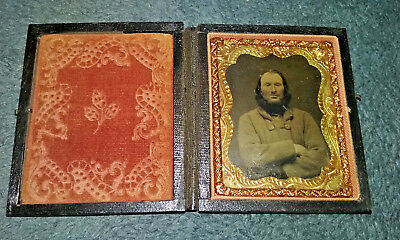 Antique Tintype Photograph of Bearded Man in Original Case NR