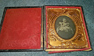 Antique Tintype Photograph of Baby in Original Case NR