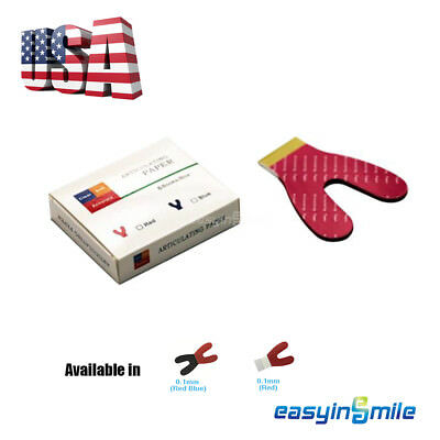 100u EASYINSMILE Dental Articulating Paper Horseshoe Blue&Red/Red Thick Accurate