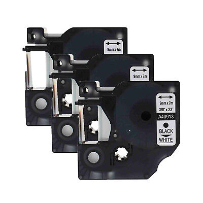 """3PK 40913 Black on White Label Tape for DYMO D1 LabelManager 420P 100 9mm 3/8"""""""